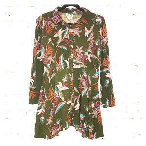 Jaase Green & Floral Tunic with Bell Sleeves